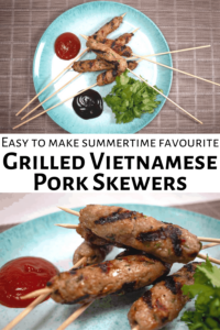 Pinterest Button for Vietnamese Grilled Pork Skewers.