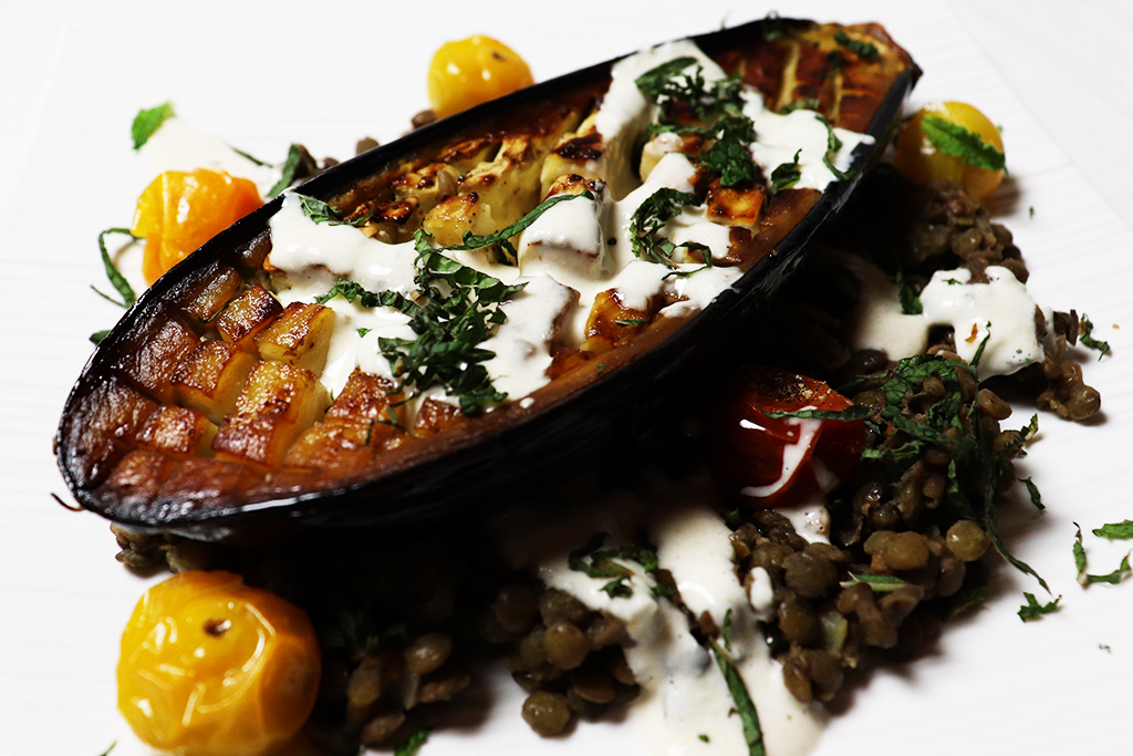 Roasted Eggplant on a bed of lentils