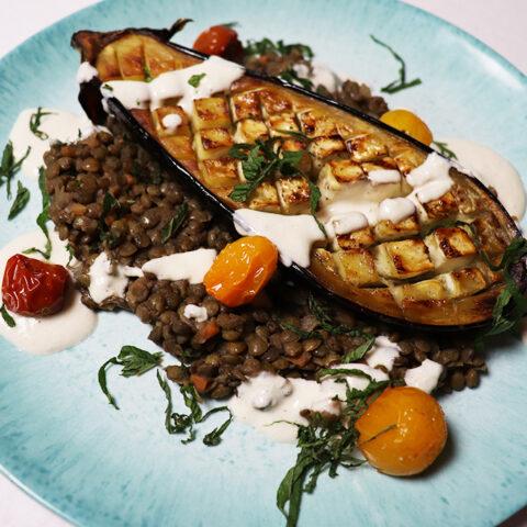 Roasted Eggplant w/Lentils and Tahini Sauce